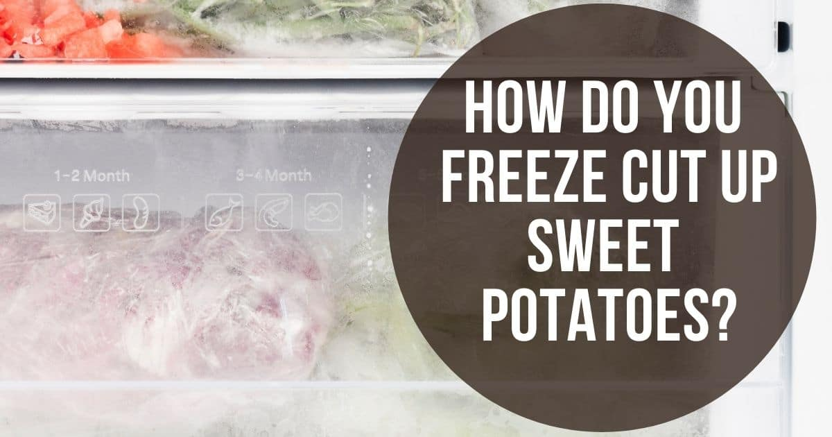 Cut up sweet potatoes in the freezer