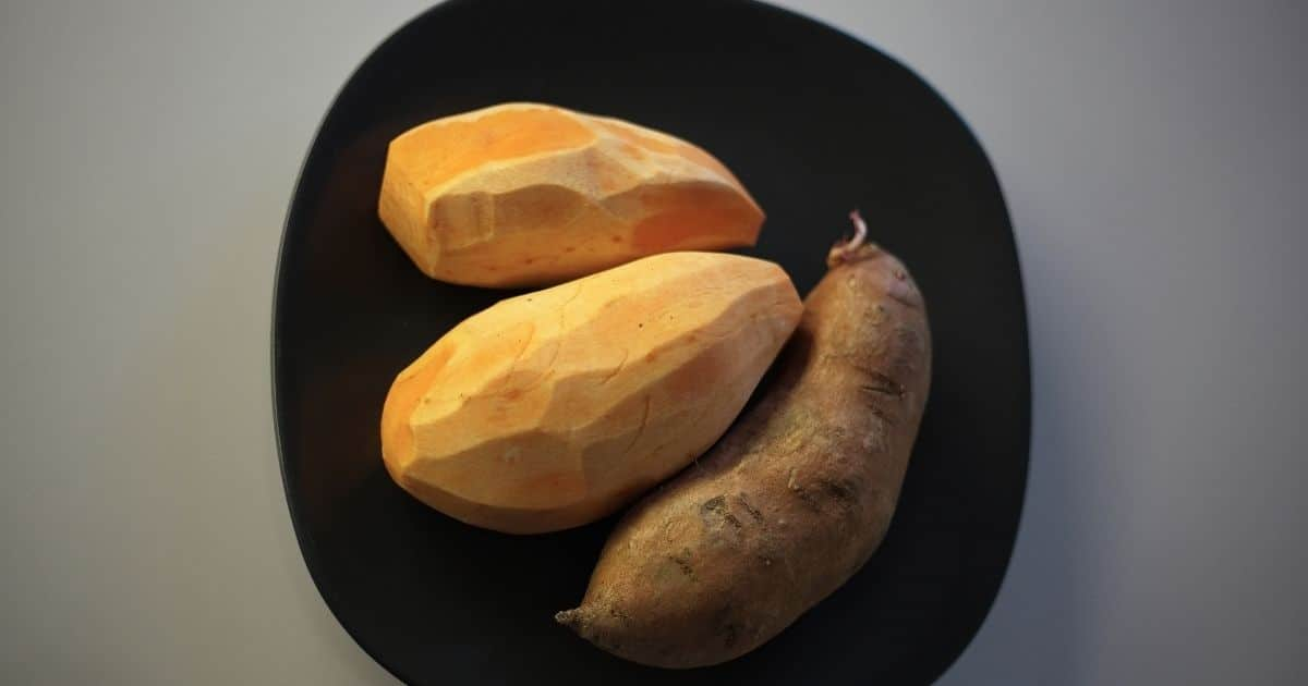 Cleaned and peeled sweet potatoes