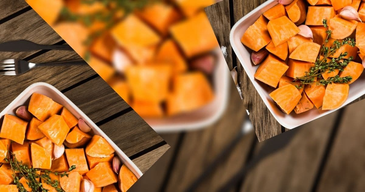 Small portions of sweet potatoes