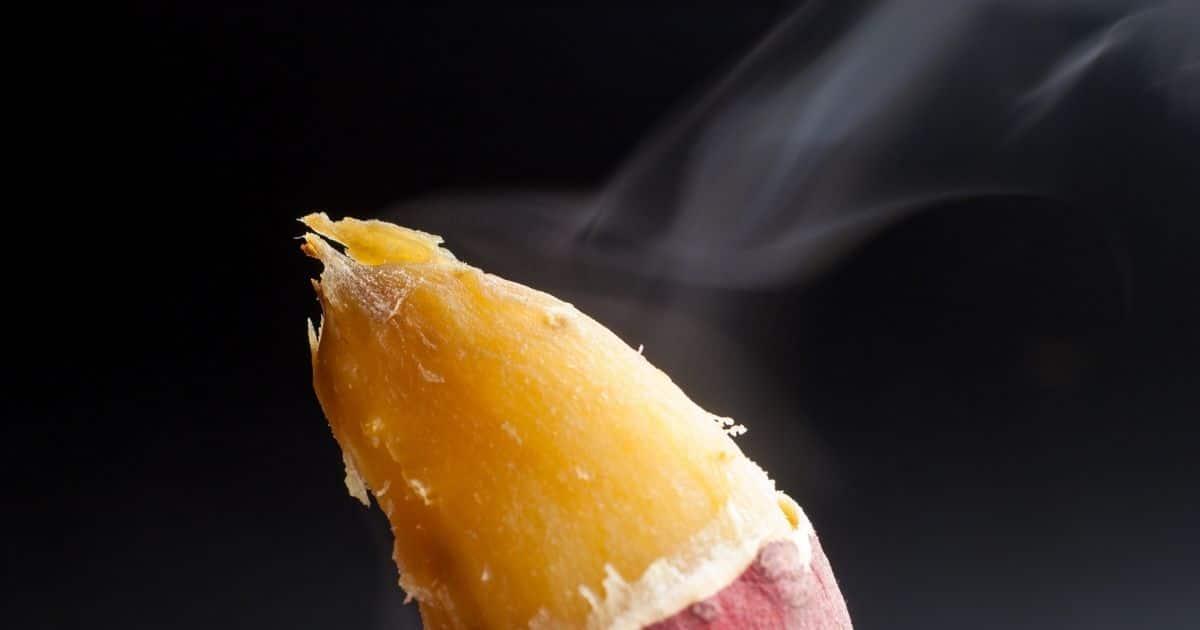 A boiled sweet potatoe cooling down