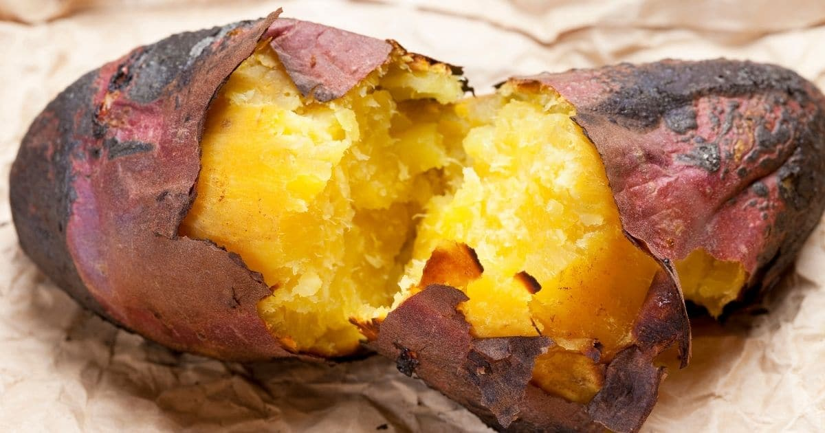 Baked sweet potatoes cooling down