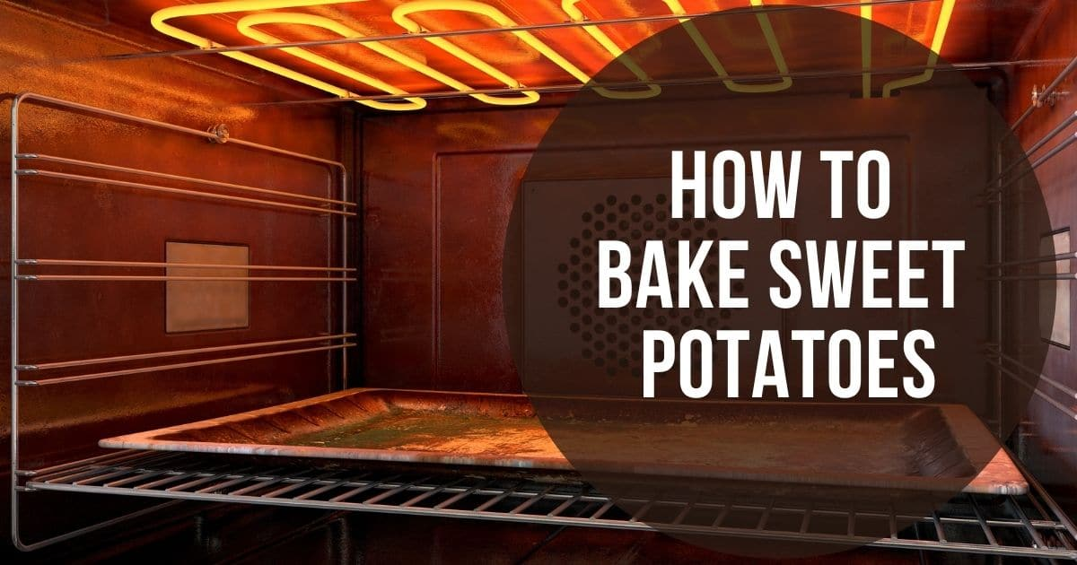 """An oven heating up and the words """"how to bake sweet potatoes"""""""