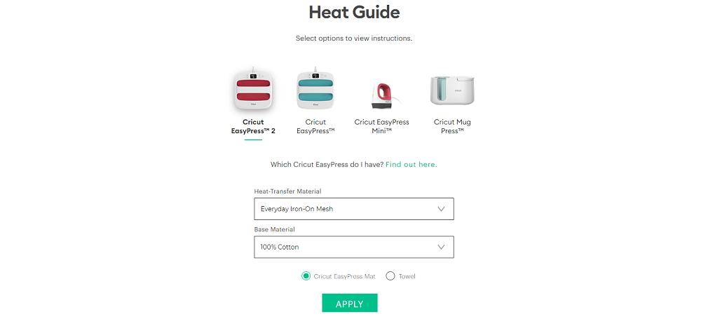 Cricut easypress heat guide