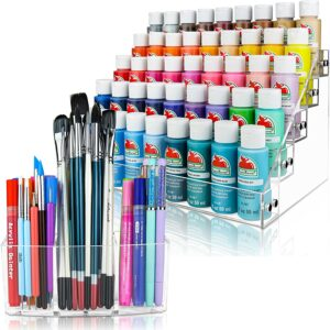 Acrylic paint organizer & paint brush holder