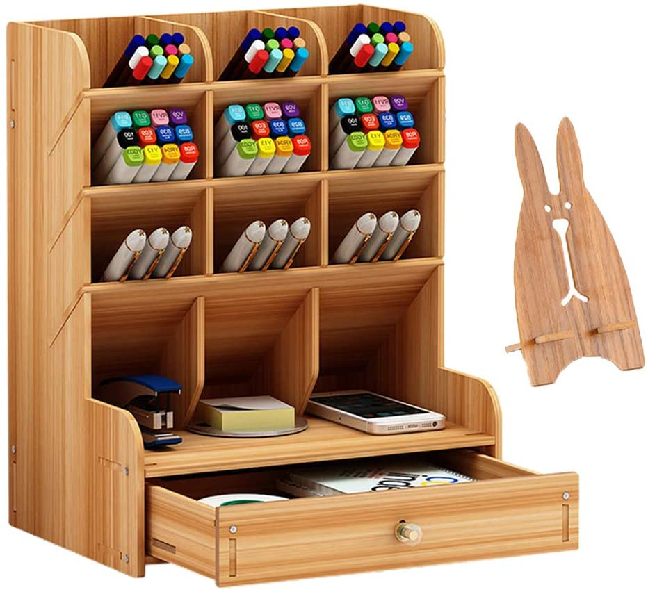 Marbrasse wooden pen organizer