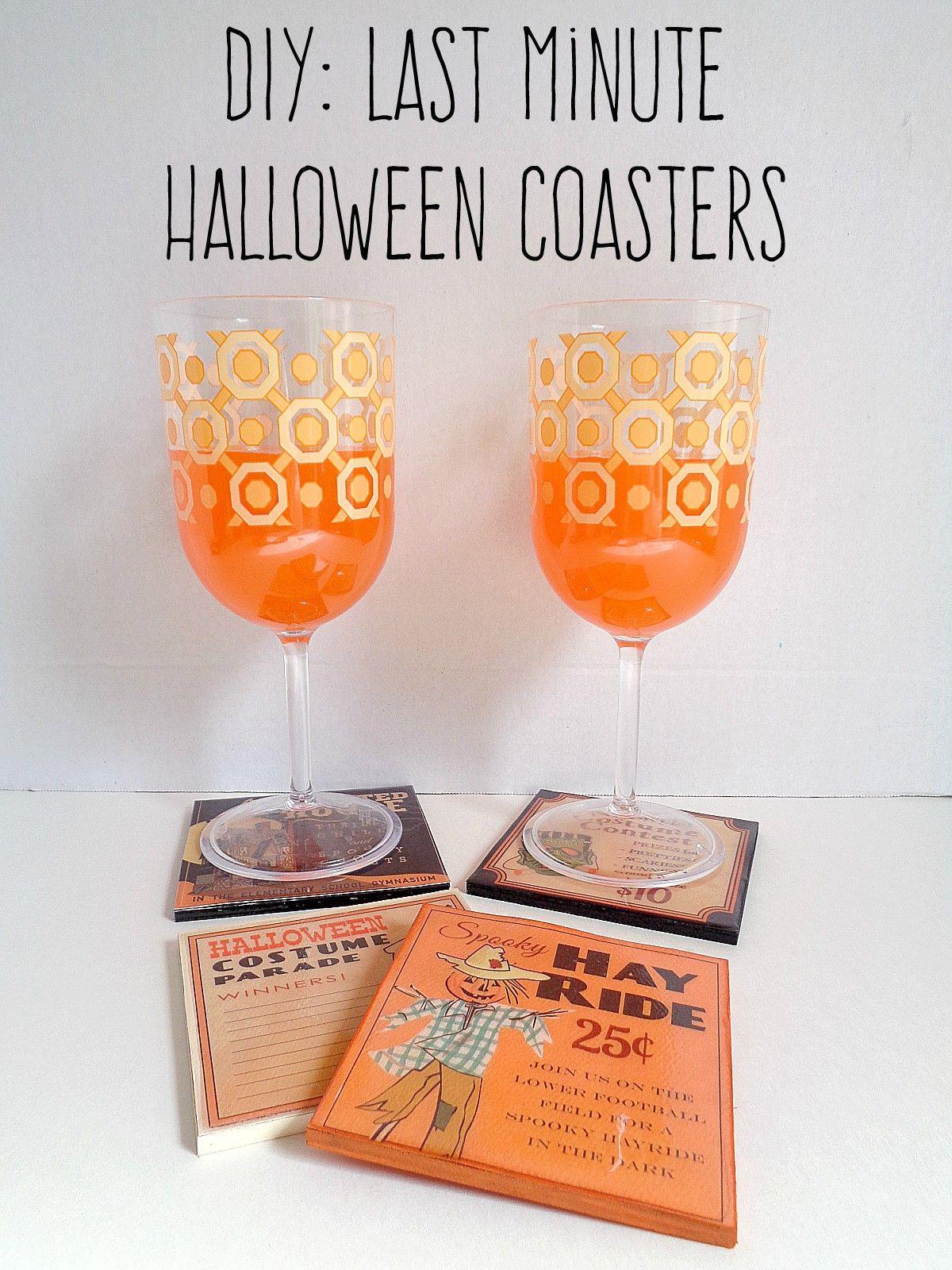 Diy last minute halloween coasters
