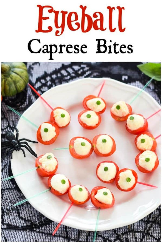 Halloween appetizers eyeball caprese bites